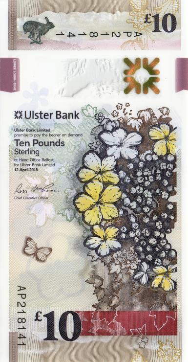 Nordirland / Northern Ireland, Ulster Bank P.neu 10 Pounds 2018 Polymer (1)