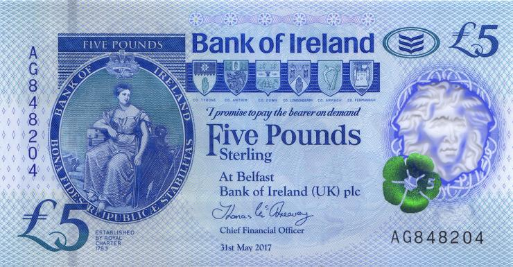 Nordirland / Northern Ireland, Bank of Ireland P.neu 5 Pounds 2017 (2019) Polymer (1)
