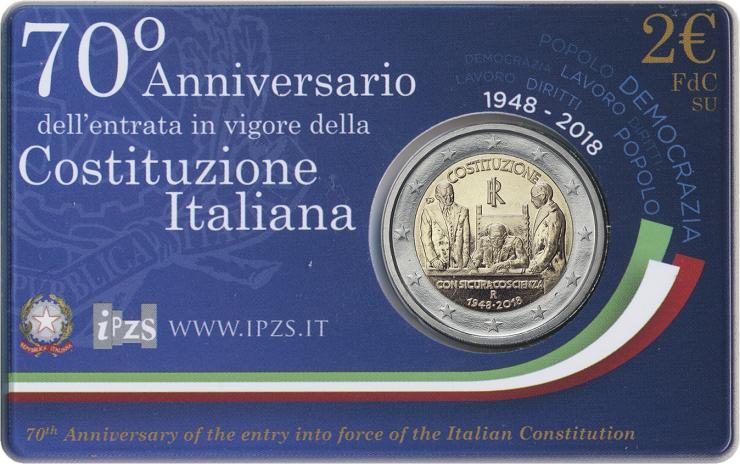 Italien 2 Euro 2018 Verfassung in Coincard
