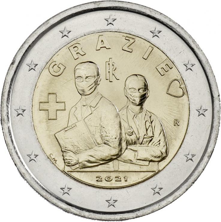 Italien 2 Euro 2021 Grazie Gesundheitswesen