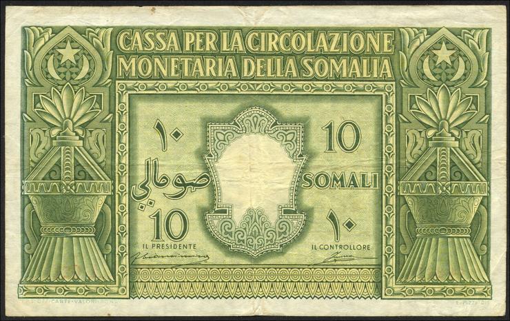 Ital.-Somaliland/Ital. Somaliland P.13a 10 Somali 1950 (3)