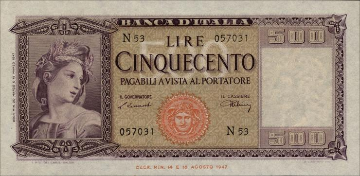 Italien / Italy P.080a 500 Lire 1947 (1)