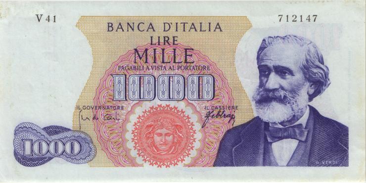 Italien / Italy P.096d 1000 Lire 1966 Verdi (2)