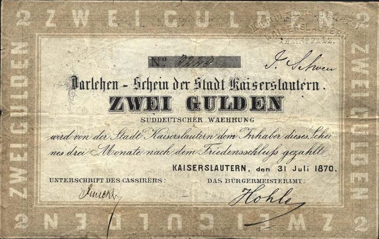A-577 Kaiserslautern 2 Gulden 1870 (3-)
