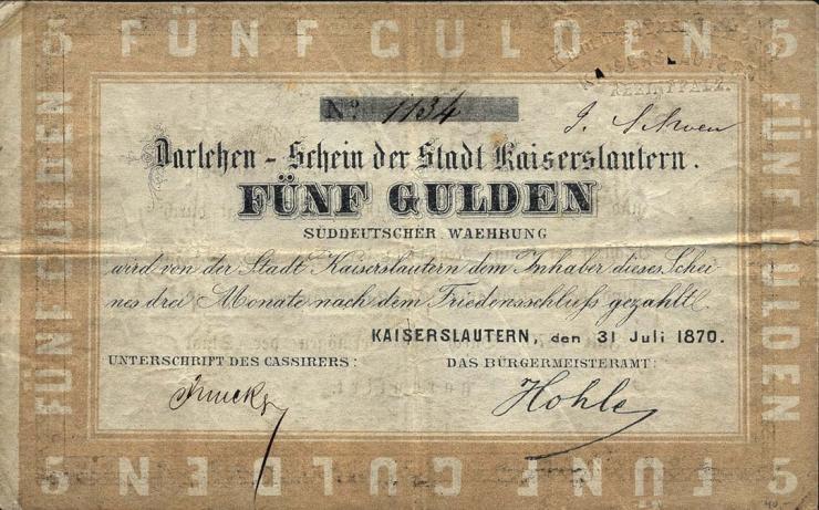 A-578 Kaiserslautern 5 Gulden 1870 (3-)