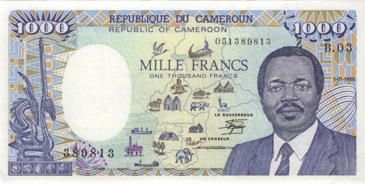 Kamerun / Cameroun P.26a 1000 Francs 1986 (1)