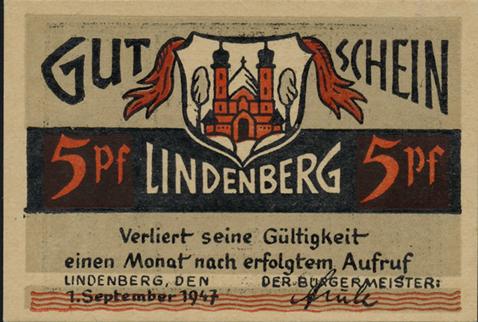 Notgeld Lindenberg im Allgäu 5 - 50 Pf. 1947 (1)