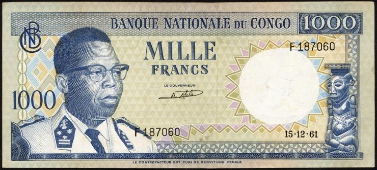 Kongo / Congo P.008 1000 Francs 1961 (3+)