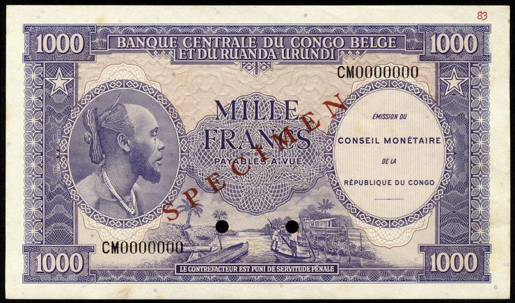 Kongo / Congo P.002s 1000 Francs 1962 Specimen (1-)