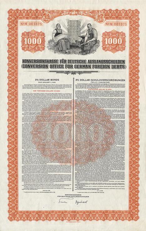 Konversionskasse Schuldverschreibung 1000 $ vom 1. Juli 1936
