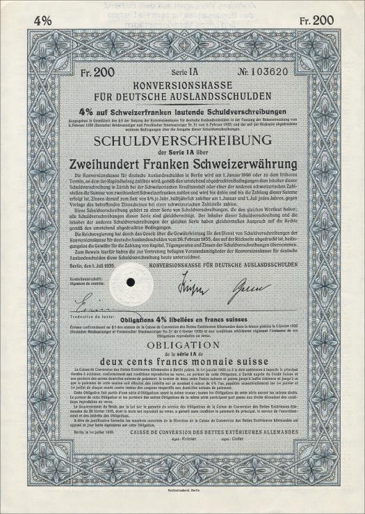 Konversionskasse für deutsche Auslandsschulden 200 Schweizer Franken
