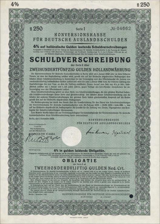 Konversionskasse für deutsche Auslandsschulden 250 Holl. Gulden