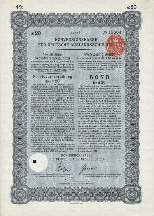 Konversionskasse für deutsche Auslandsschulden 20 Pfund Sterling