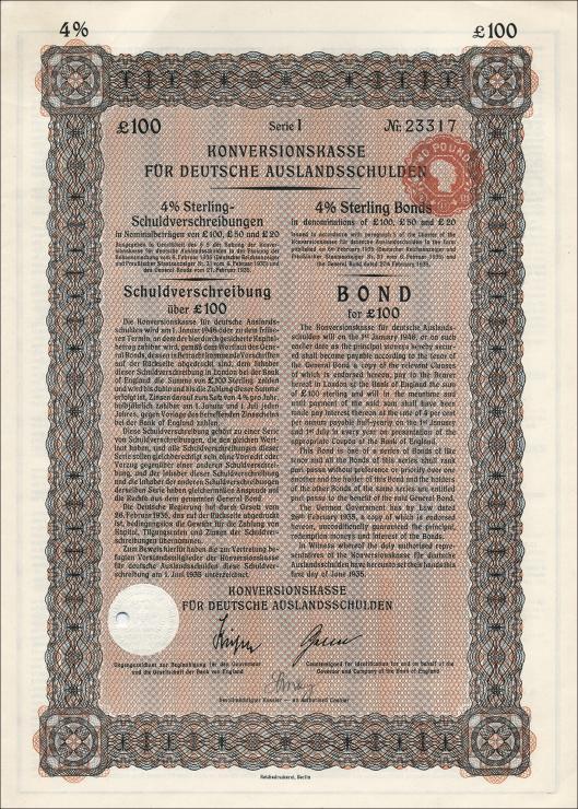 Konversionskasse für deutsche Auslandsschulden 100 Pfund Sterling
