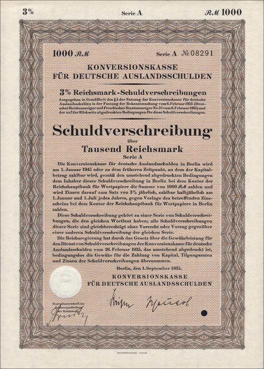 Konversionskasse für deutsche Auslandsschulden 1000 Reichsmark
