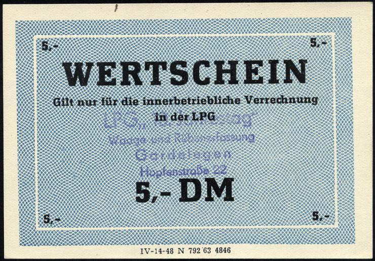 """L.033.50 LPG Gardelegen """"10. Jahrestag"""" 5 DM (1)"""