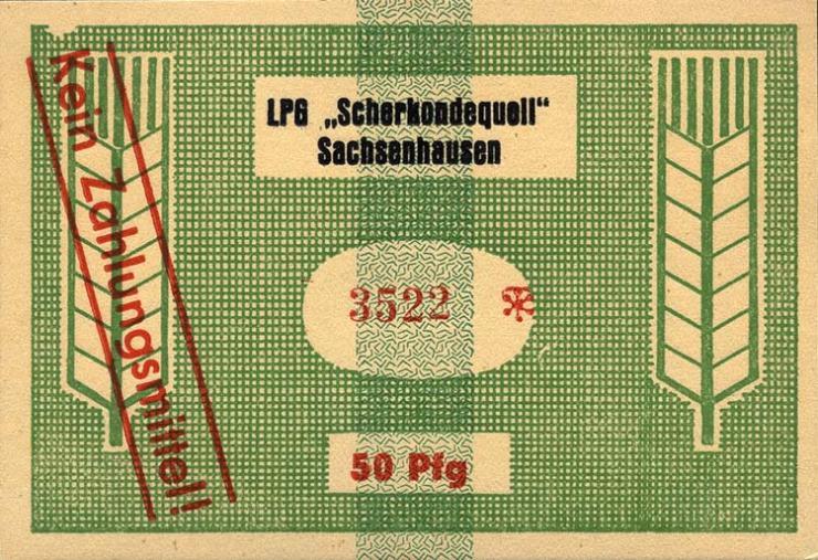 """L.123.8 LPG Sachsenhausen """"Scherkondequell"""" 50 Pfennig (1)"""