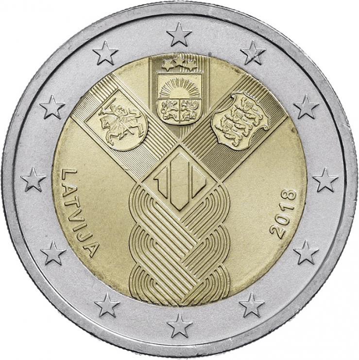 Lettland 2 Euro 2018 (Baltische Gemeinschaftsausgabe) 100 Jahre Unabhängigkeit