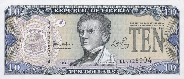 Liberia P.22 10 Dollars 1999 (1)