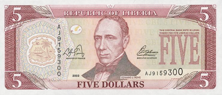 Liberia P.26a 5 Dollars 2003 (1)