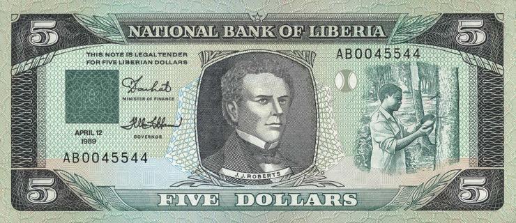 Liberia P.19 5 Dollars 1989 (1)