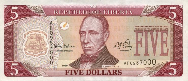 Liberia P.21 5 Dollars 1999 (1)