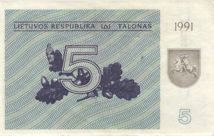 Litauen / Lithuania P.34a 5 (Talonas) 1991 (1-)