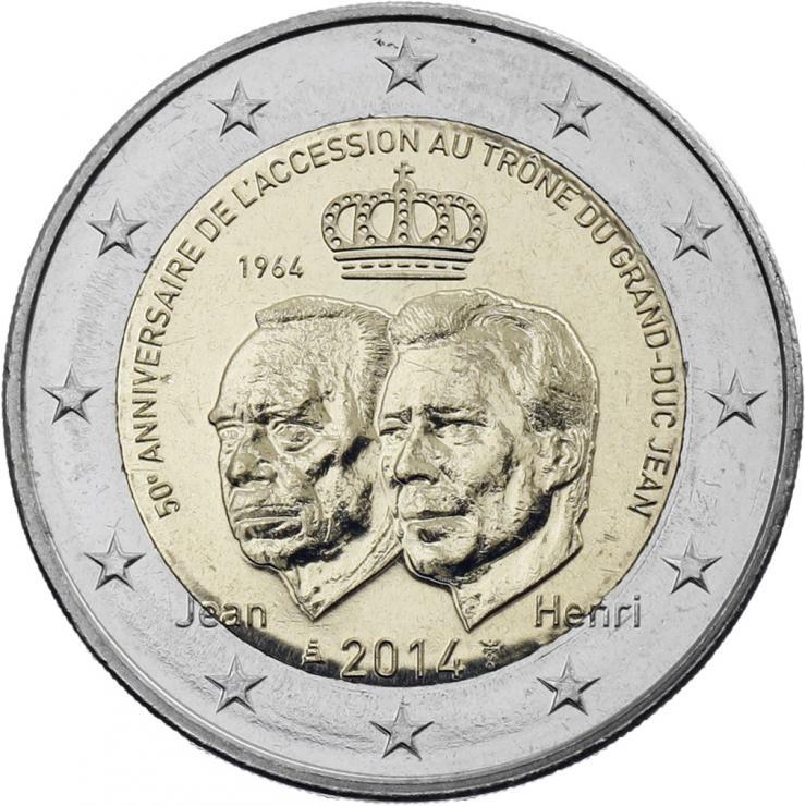 Luxemburg 2 Euro 2014 50 Jahre Thronbesteigung Großherzog Jean