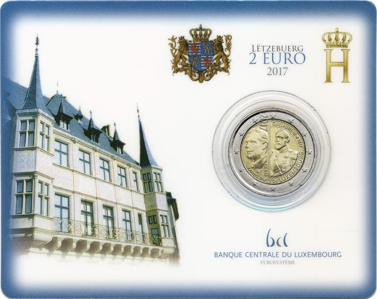 Luxemburg 2 Euro 2017 Guillaume III. Coincard