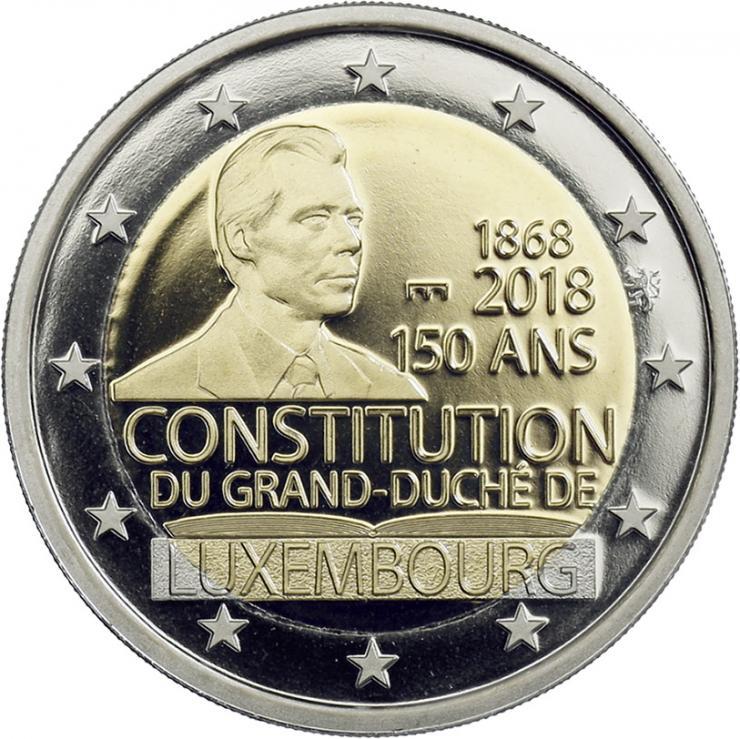 Luxemburg 2 Euro 2018 150 Jahre Verfassung PP - Mzz. Löwe & Brücke