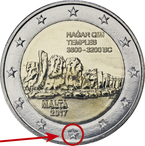 "Malta 2 Euro 2017 Hagar Qim Tempel mit Mzz. ""F"""