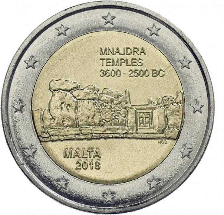 Malta 2 Euro 2018 Mnajdra Tempel
