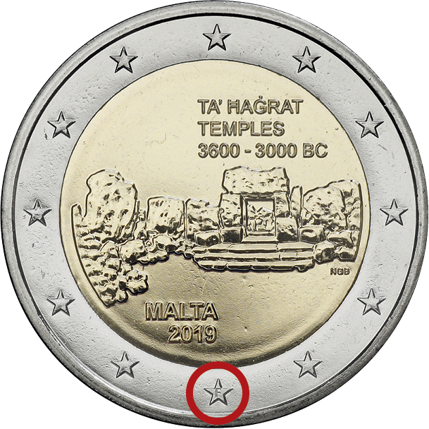 """Malta 2 Euro 2019 Ta' Hagrat Tempel mit Mzz. """"F"""""""