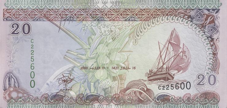 Malediven / Maldives P.20b 20 Rufiyaa 2000 (1)