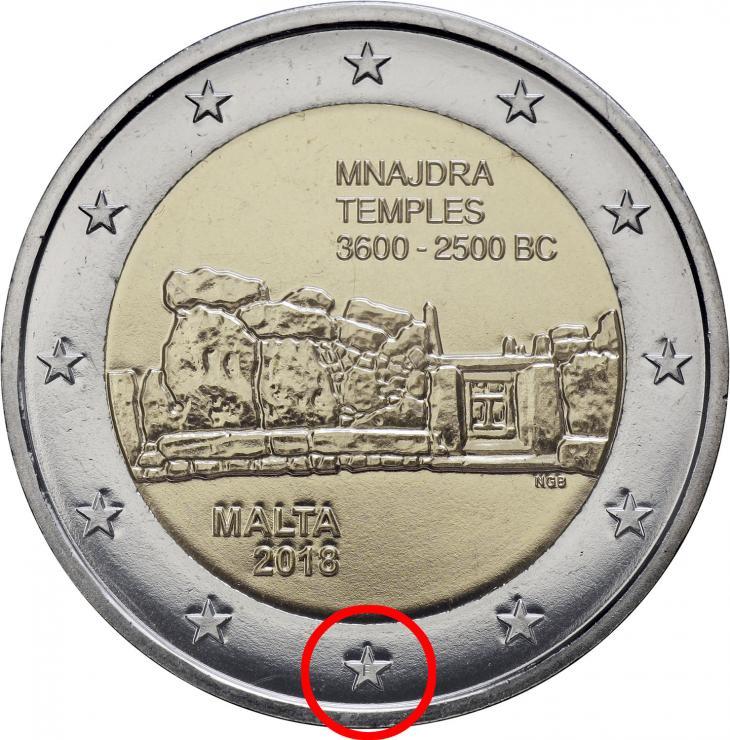 """Malta 2 Euro 2018 Mnajdra Tempel mit Mzz. """"F"""""""