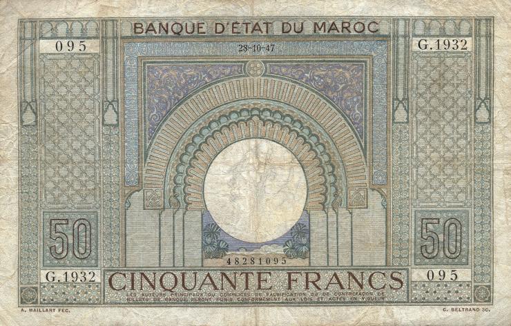 Marokko / Morocco P.21 50 Francs 1947 (4)