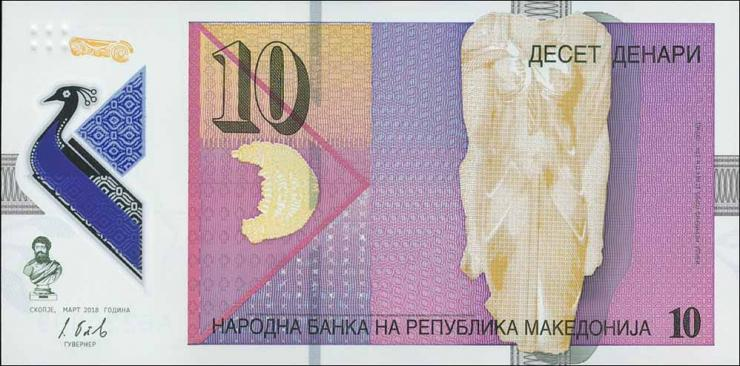 Mazedonien / Macedonia P.neu 10 Denari 2018 Polymer (1)