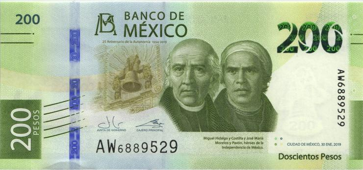 Mexiko / Mexico P.neu 200 Pesos 2019 Gedenkbanknote (1)