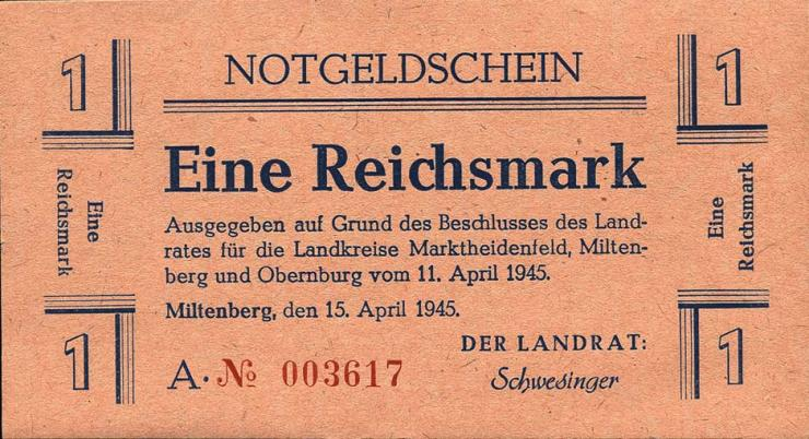 Miltenberg Notgeld 1 Reichsmark 1945 (1)