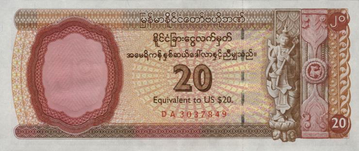 Myanmar P.FX4 20 Dollars (1993) (1)