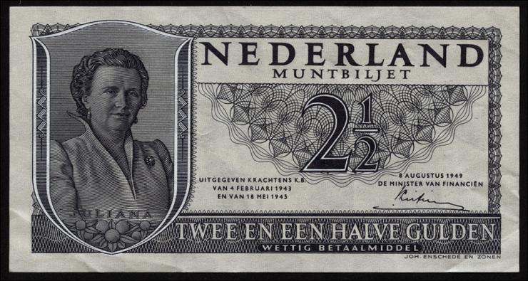 Niederlande / Netherlands P.073 2,50 Gulden 1949 (2)