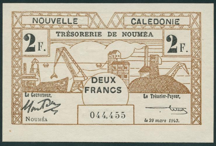 Neu Kaledonien / New Caledonia P.56 2 Francs 1943 (1)