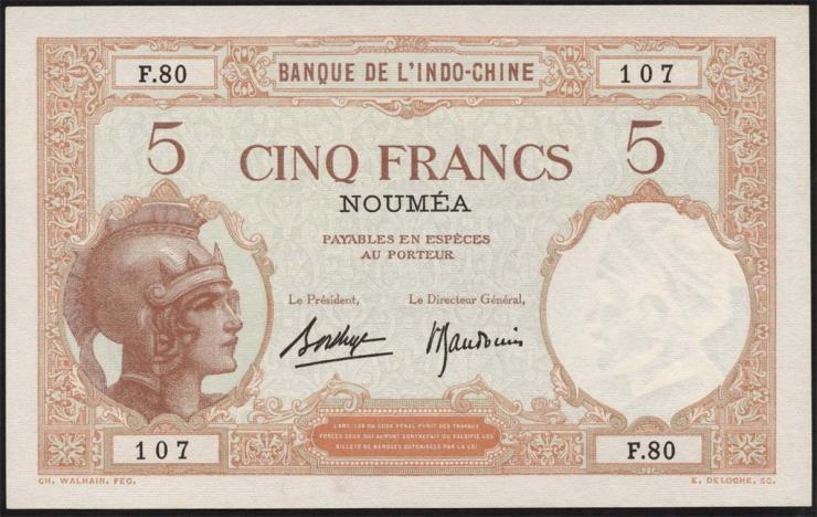 Neu Kaledonien / New Caledonia P.36b 5 Francs (1926) (1)