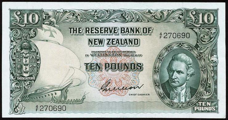 Neuseeland / New Zealand P.161b 10 Pounds (1955-56) (2)