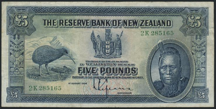Neuseeland / New Zealand P.156 5 Pounds 1934 (3)