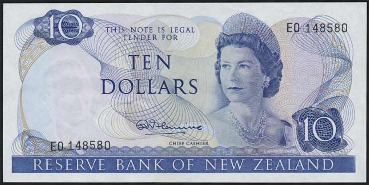 Neuseeland / New Zealand P.166a 10 Dollars (1967-68) (2)
