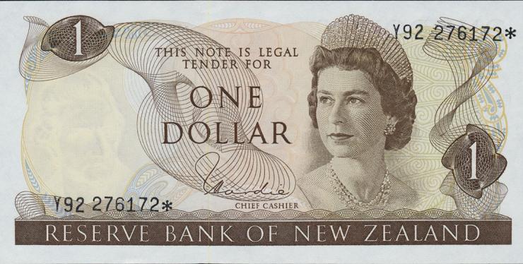 Neuseeland / New Zealand P.163d 1 Dollar (1977-81) * Ersatznote (1)
