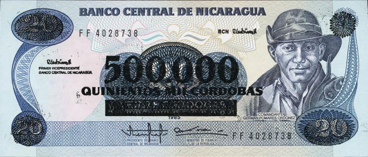 Nicaragua P.163 500.000 auf 20 Cordobas (1990) (1)