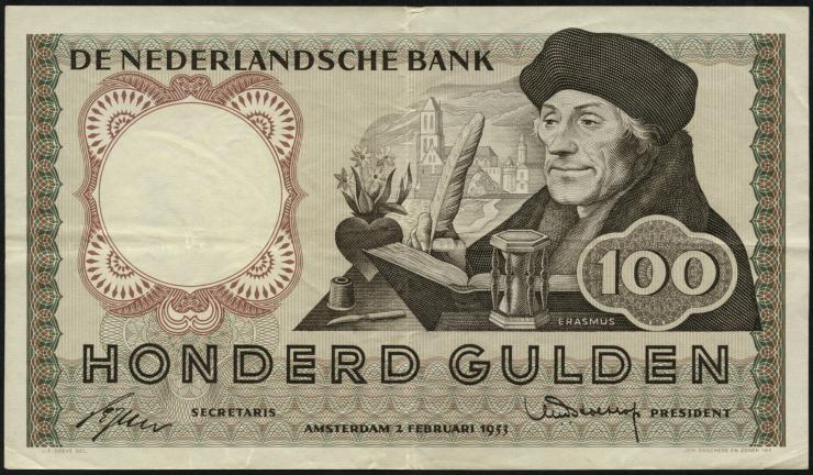 Niederlande / Netherlands P.088 100 Gulden 1953 (3+)