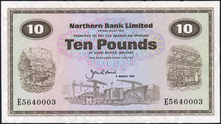 Nordirland / Northern Ireland P.189e 10 Pounds 1987 (1/1-)